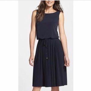 Navy Blue Sleeveless Pleated Bottom Tea Dress